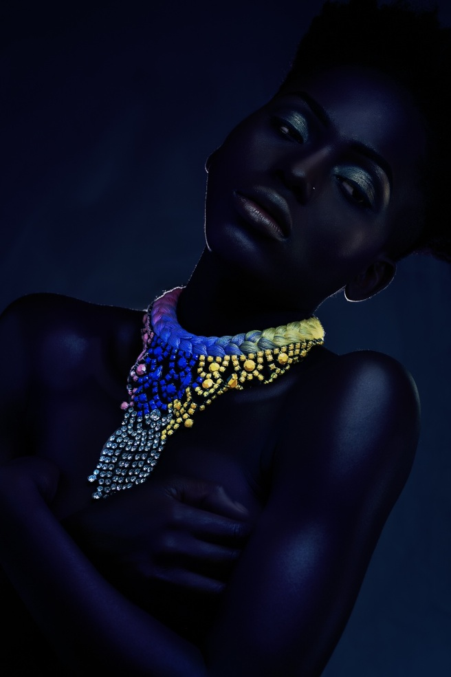 Adorn editorial for Bold Africa, featuring vibrant braided statement necklace by Jolita Jewellery