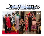Fashion Parade event for Save The Children Charity, featured in Daily Times. Jolita Jewellery pieces showcased with Nomi Ansari designs on the catwalk.