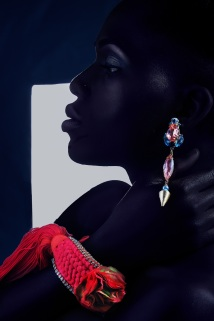 Adorn editorial for Bold Africa featuring braided cuff and with silk flower and pink crystal earrings by Jolita Jewellery