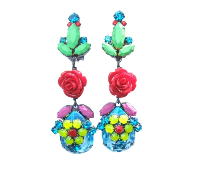 Flora Forza clip on statement earrings by Jolita Jewellery