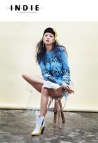 HIlda editorial, published in Indie Magazine, August 2014 - Jolita Jewellery pink crystal Debutante statement earrings