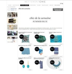 "Braided Capri necklace appeared in a French shopping blog NettementChic in a post ""Summer blue"""