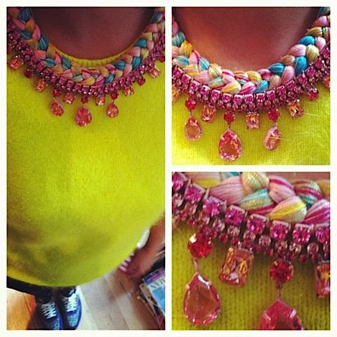 Colourful statement necklace braided with yellow, turquoise and pink hand-dyed silks