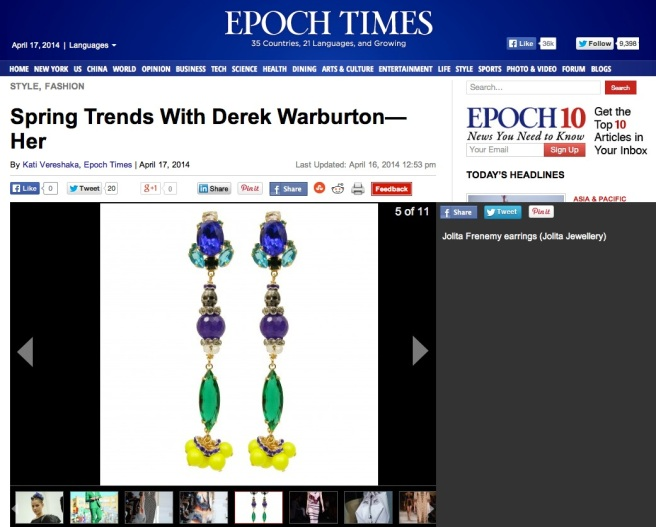 The Epoch Times New York Spring Trends - April 17, 2014 - Jolita Jewellery feature - Frenemy statement earrings, hand-made with beautiful dipped in gold cobalt blue and emerald green crystals, purple Brazilian amethyst, skull and neon Swarovski pearls