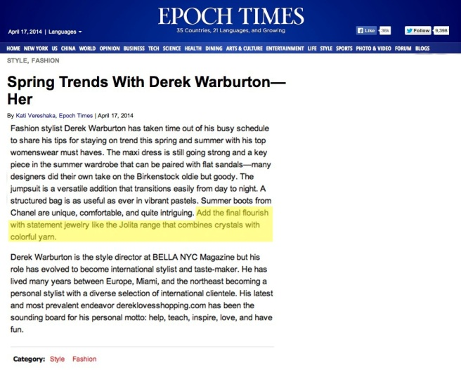 The Epoch Times New York Spring Trends - April 17, 2014 - Jolita Jewellery feature