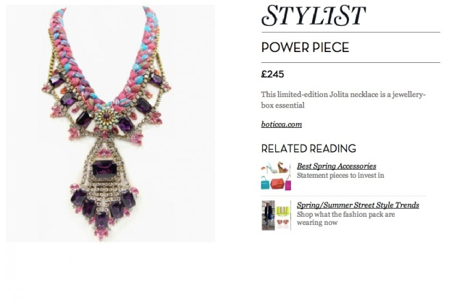 Jolita Jewellery necklace featured in Stylist