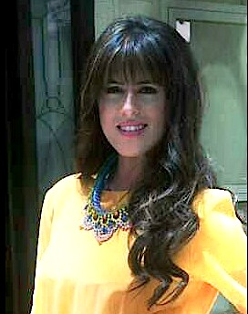 Noor Al Shaikh wearing Pastel Malaga necklace by Jolita Jewellery