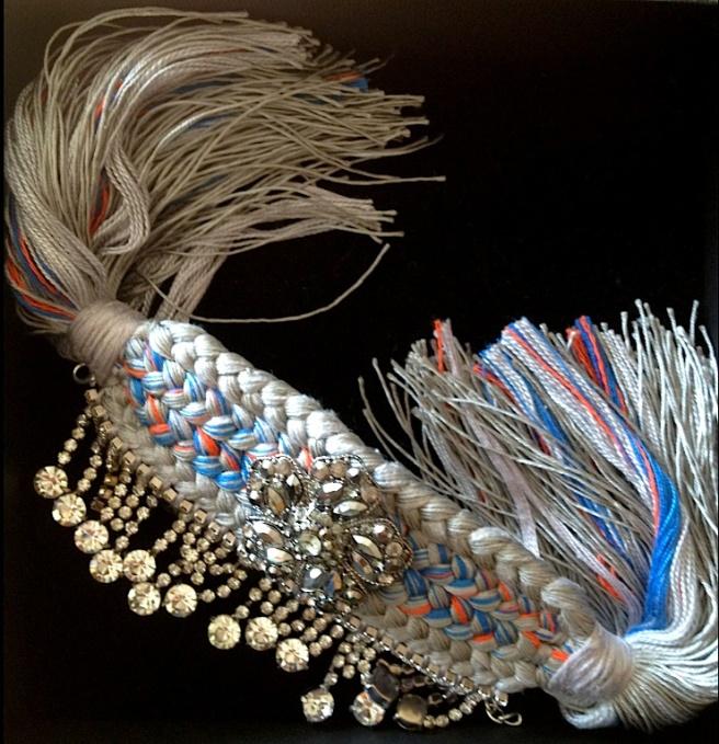 Braided cuff with crystals by Jolita Jewellery