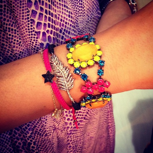 Colourful bracelet hand-painted in neon with bigger crystals covered in hand-dyed silk by Jolita Jewellery