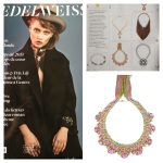 Colourful statement necklace Rimini by Jolita Jewellery featured in fashion magazine from Switzerland Edelweiss