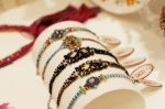 Jolita Jewellery colourful hand-painted bracelets displayed at Dadu boutique for the event