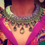 A happy customer in dip-dyed charcoal and chartreuse necklace by Jolita Jewellery