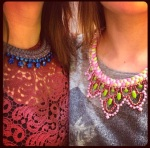 Two ladies wearing colourful Jolita necklaces made with hand-painted rhinestones and braided silks