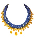 Beautiful statement necklace made with royal blue silk, mixing in a hint of metallic and restored glass necklace