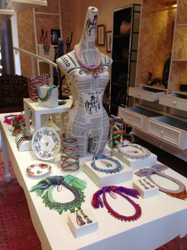 Dadu boutique showcasing Jolita pieces: colourful braided necklace, earrings and bracelets