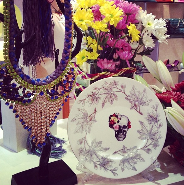 Dadu boutique showcasing Jolita pieces: colourful braided necklace with crystals and skull plate