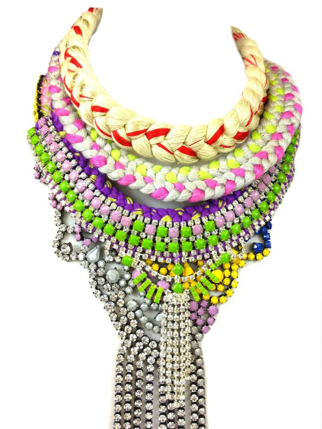 Colourful statement necklaces made with vibrant silk and rhinestones