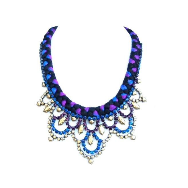 Colourful necklace made by mixing purple, cobalt blue and black silk and embellished with rhinestones hand-painted in blue, purple and gold