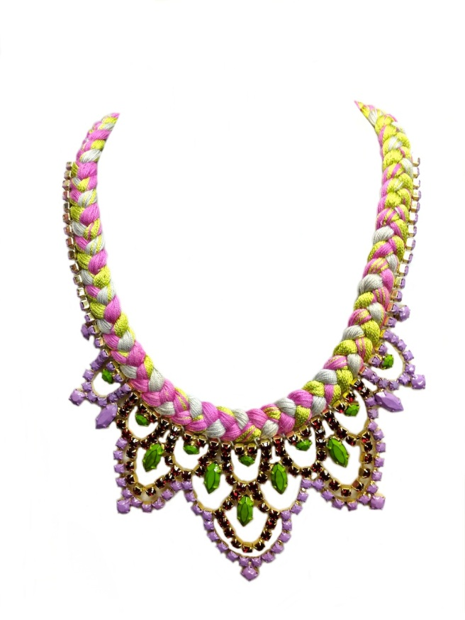 Colourful necklace made by mixing magenta, grey and lime green silk and embellished with rhinestones hand-painted in green, purple and red