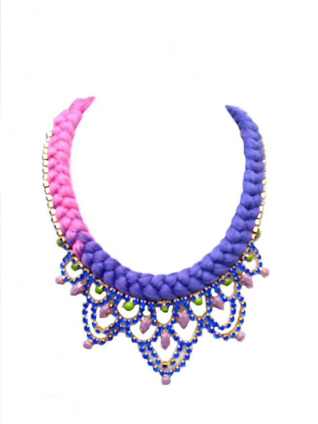 Colourful statement necklace made in silk gradually dip-dyed in magenta and purple and embellished with rhinestones hand-painted in green, purple and magenta