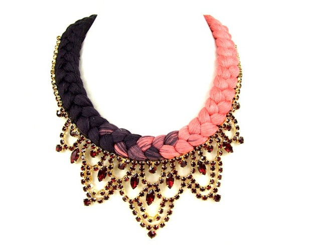 Colourful statement necklace made with dip-dyed silk in coral pink and dark brown embellished with rhinestones hand-painted in re