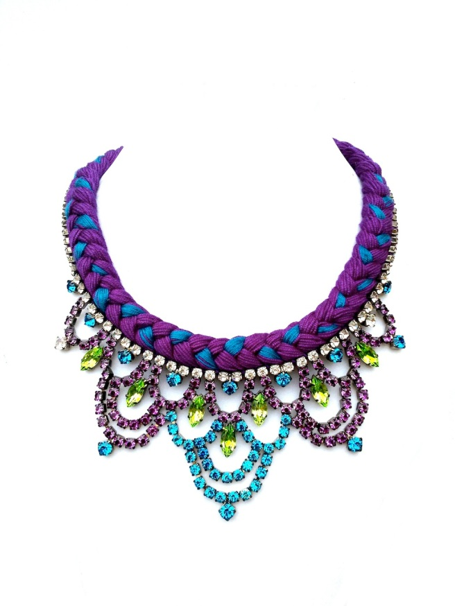 Colourful necklace made by mixing purple and teal blue silk and embellished with rhinestones hand-painted in peridot green, purple and teal blue