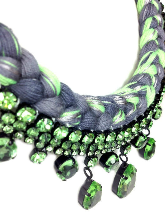 Colourful statement necklace made mixing chartreuse and charcoal silks, braided onto bohemian style necklace