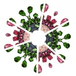 A beautiful kaleidoscopic image created with Barcelona and Prague necklaces in green and pink colours