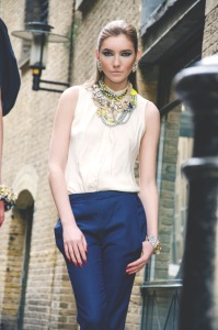 From London Regal editorial March 2014 - in Jolita Jewellery statement pieces: Attention Seeker multi strand statement necklace and clear Madrid earrings.
