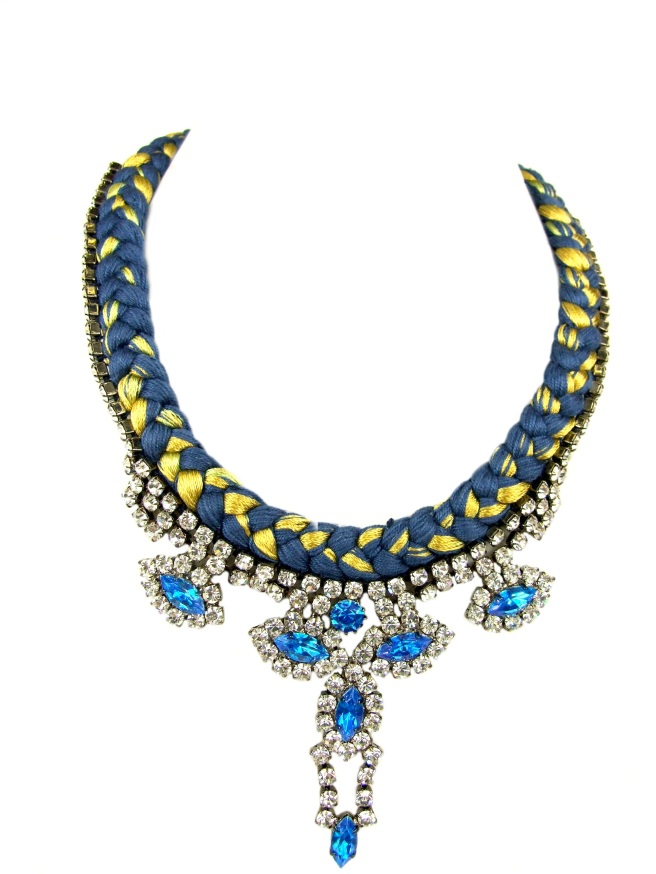 Blue St. Petersburg statement necklace made with blue and yellow braid and rhinestones hand-painted in blue