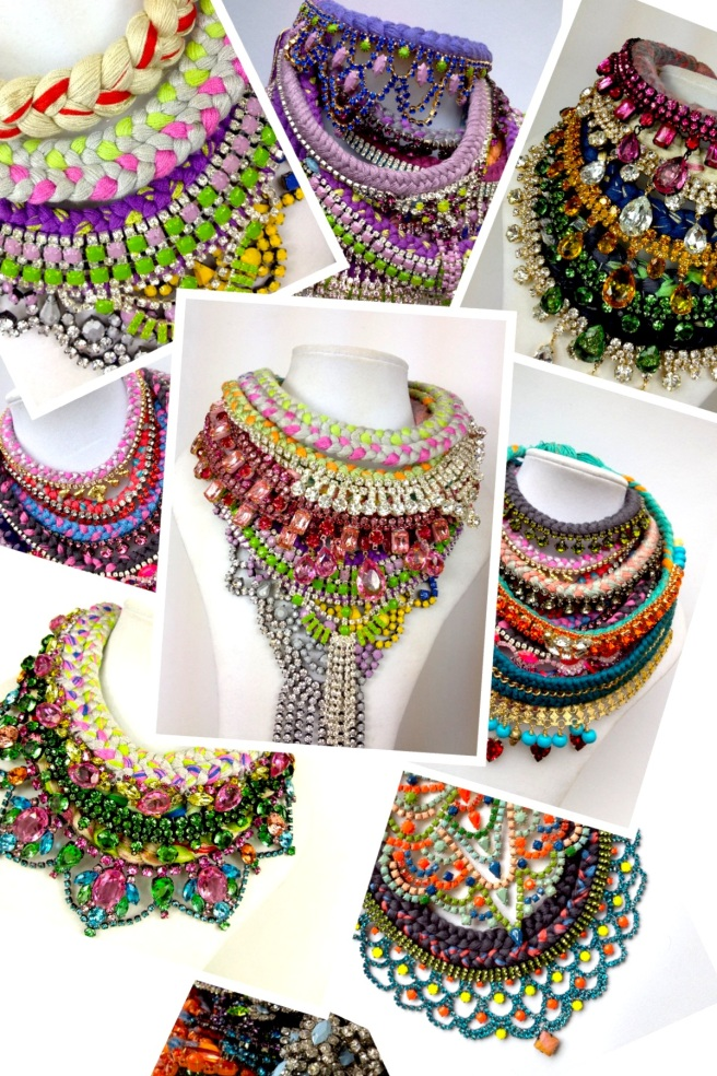 Colourful statement necklaces, made with braided silk and rhinestones