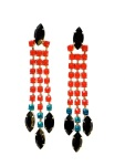 Colourful statement earrings, hand-painted in red, black and a hint of teal blue