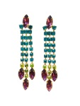 Colourful statement earrings, hand-painted in teal blue, purple and a hint of peridot green.