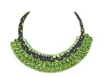Braided necklace with green and charcoal silk braid and green crystals - work in progress