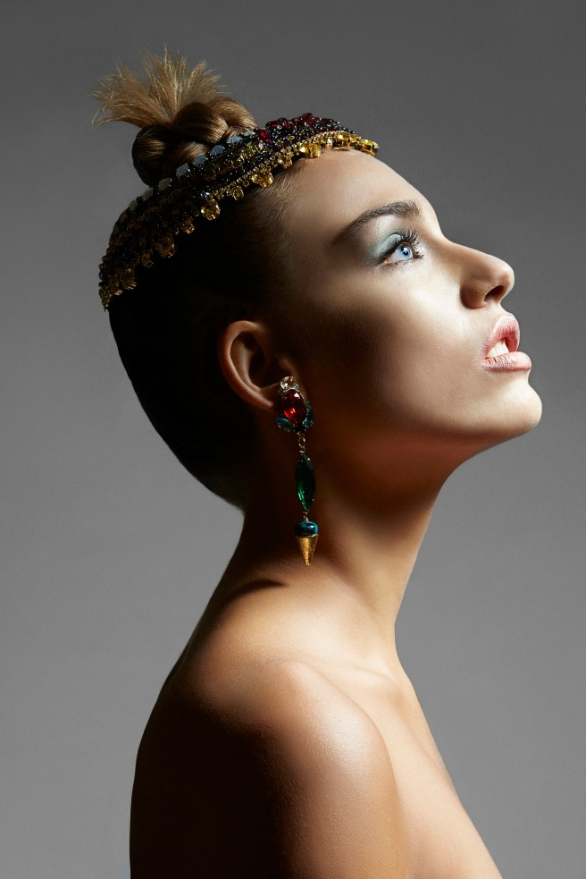 Institute magazine - Dali editorial in Jolita Jewellery statement pieces: green and red crystal Debutante statement earrings and luxury Duchess crystal collar, embellished with Swarovski crystals