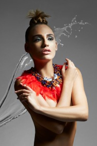 Institute magazine - Dali editorial in Jolita Jewellery's Red feather statement necklace, embellished with Swarovski crystals