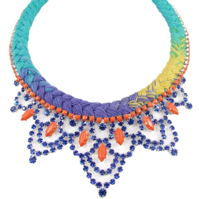 Colourful necklace with dip-dyed silk in purple, yellow and turquoise and crystals hand-painted in orange and blue
