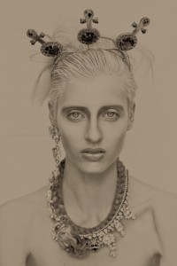 From shoot for All Hollow magazine - Cairo statement necklace and Duchess earrings, all by Jolita Jewellery