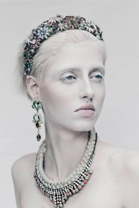 From shoot for All Hollow magazine - In Monaco necklace and Baroness statement earrings, all by Jolita Jewellery