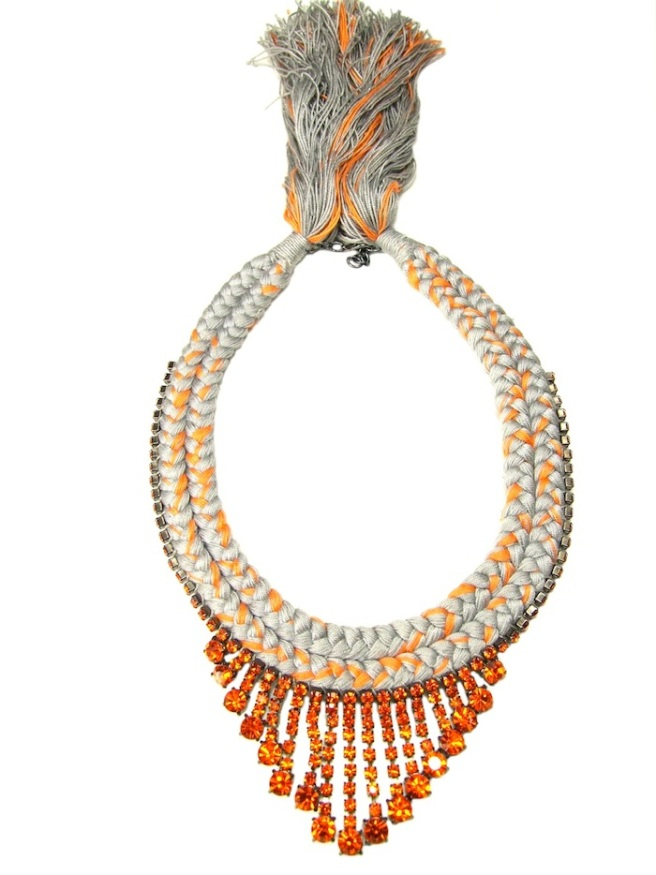 This double collar necklace is made with burnt orange drop rhinestones and braided silk in grey, mixing a hint of orange.