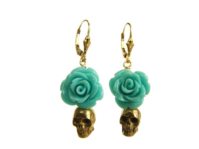 Skull and Flower earrings, adorned with pressed coral flowers and bronze skulls, cast from original Balenes carving, which are dipped in 24k yellow gold.