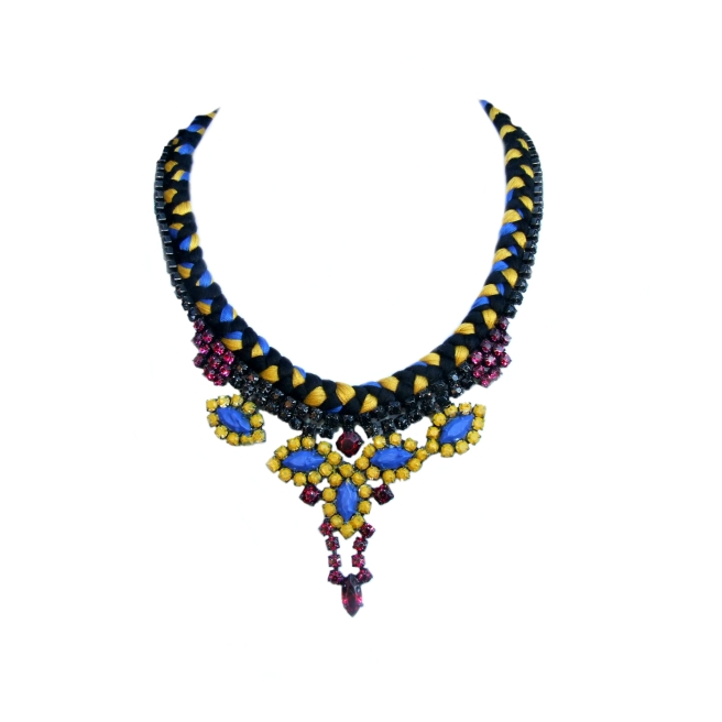 Necklace made with mustard, cobalt blue and charcoal silks braided onto a modern crystal necklace, hand-painted in the same hues.