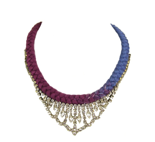 A statement necklace, made  with vintage rhinestones and braided with dip-dyed plum and lilac silk
