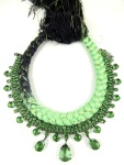 Braided statement necklace made with dip-dyed silk braid in charcoal and chartreuse green