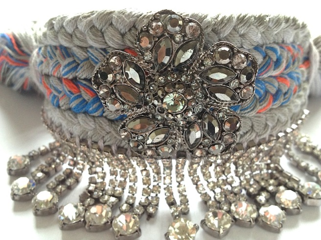 A braided cuff with crystals