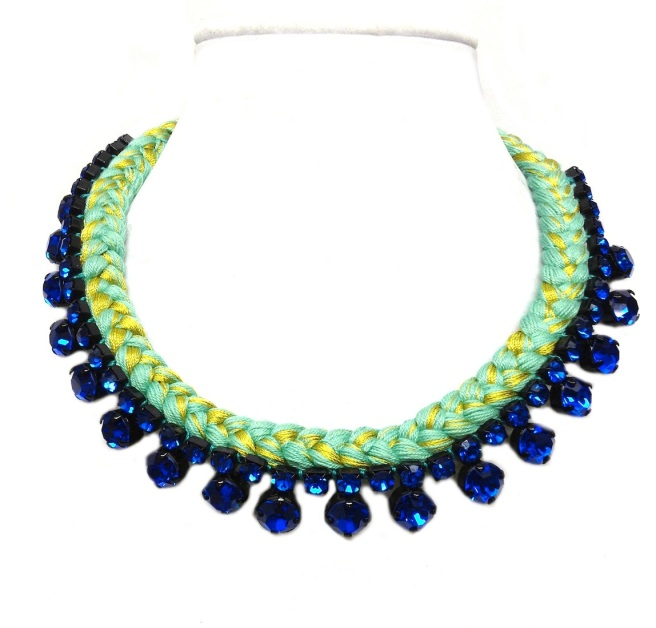 Custom made necklace with blue rhinestones and green braid