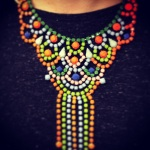 Colourful Ibiza statement necklace hand-painted in neon and pastels