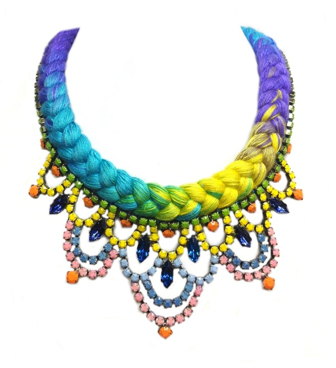 Colourful necklace with dip-dyed silk in purple, yellow and turquoise and crystals hand-painted in pastel colours