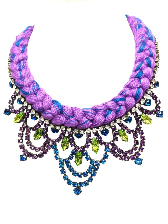 Custom made Malaga necklace with purple braid, mixing in a hint of blue and rhinestones hand-painted in purple, blue and peridot green