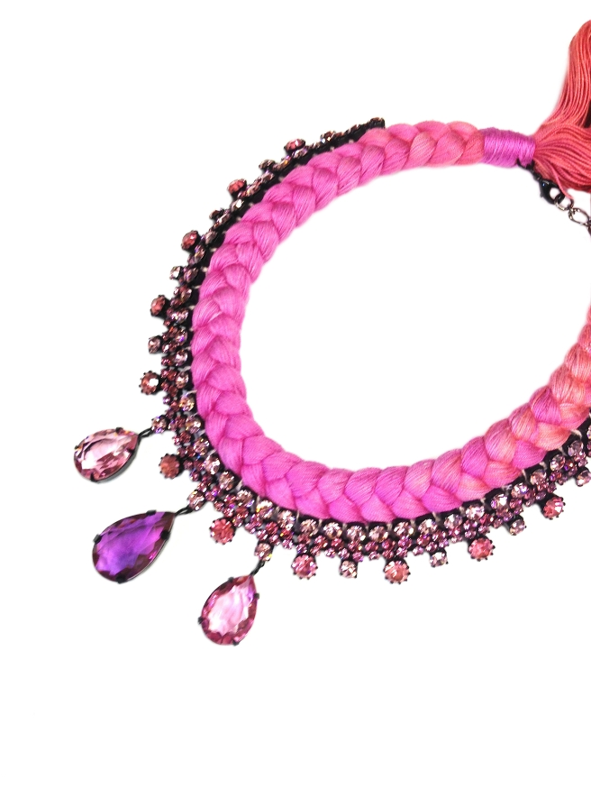 Braided statement necklace made with dip-dyed silk braid in coral pink and fuchsia